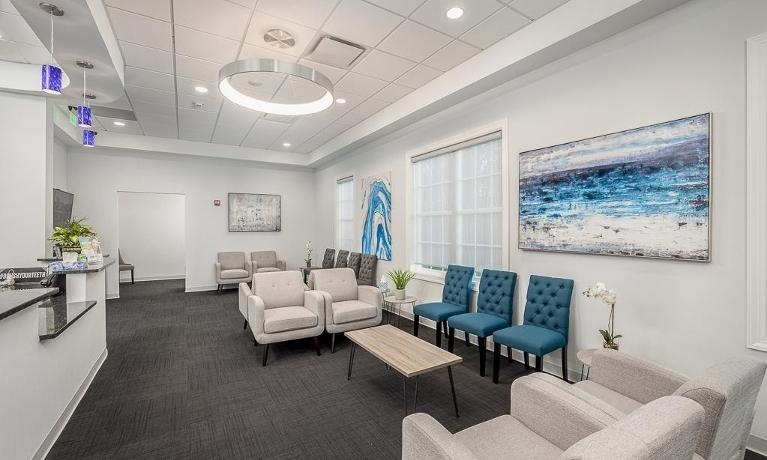 Modern and comfortable dental waiting room in Northborough