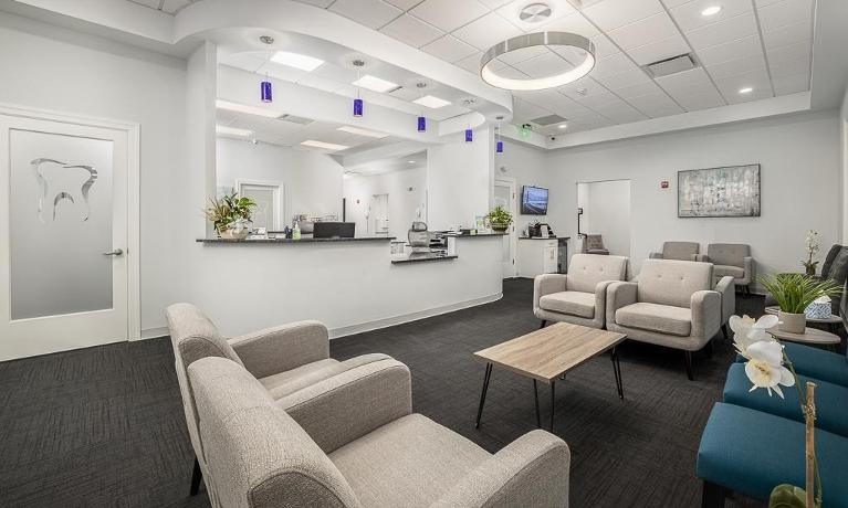 Comfortable chairs in reception area of Northborough Family Dental